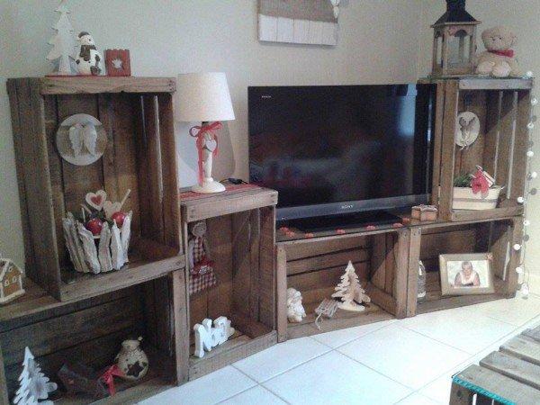 30 ideas creativas de reutilizar o reciclar viejas cajas de madera en dise o de interiores. Black Bedroom Furniture Sets. Home Design Ideas