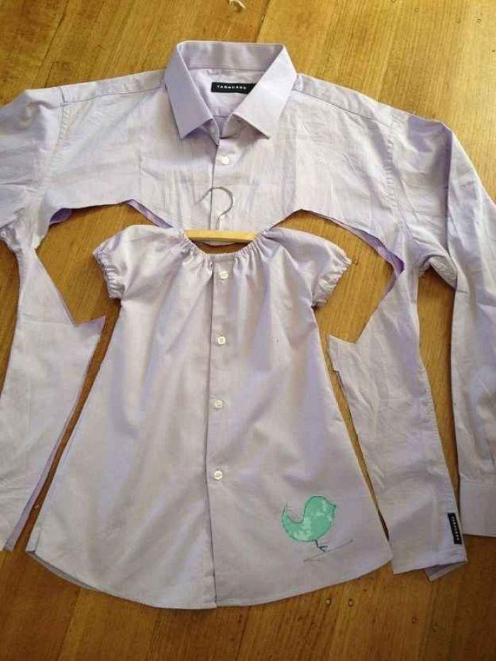Como convertir camisas de papa en vestidos para niñas