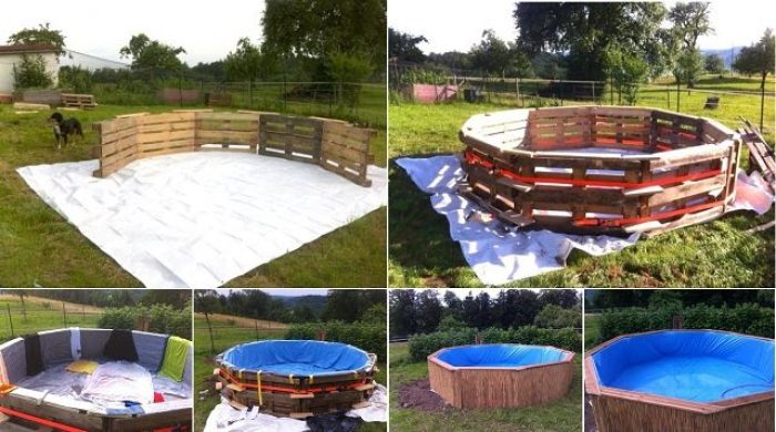 C mo hacer una piscina con 10 palets for Materiales para construir una piscina