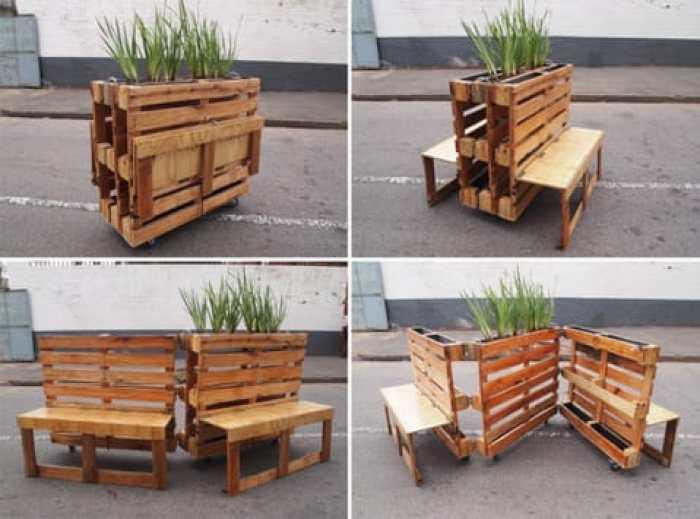 Bancos plegables hechos con palets reciclados for Bancos de jardin hechos con palets