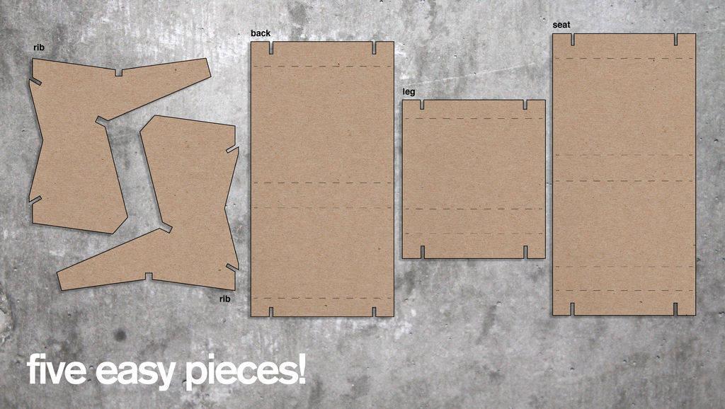 Sillón en 5 piezas de cartón