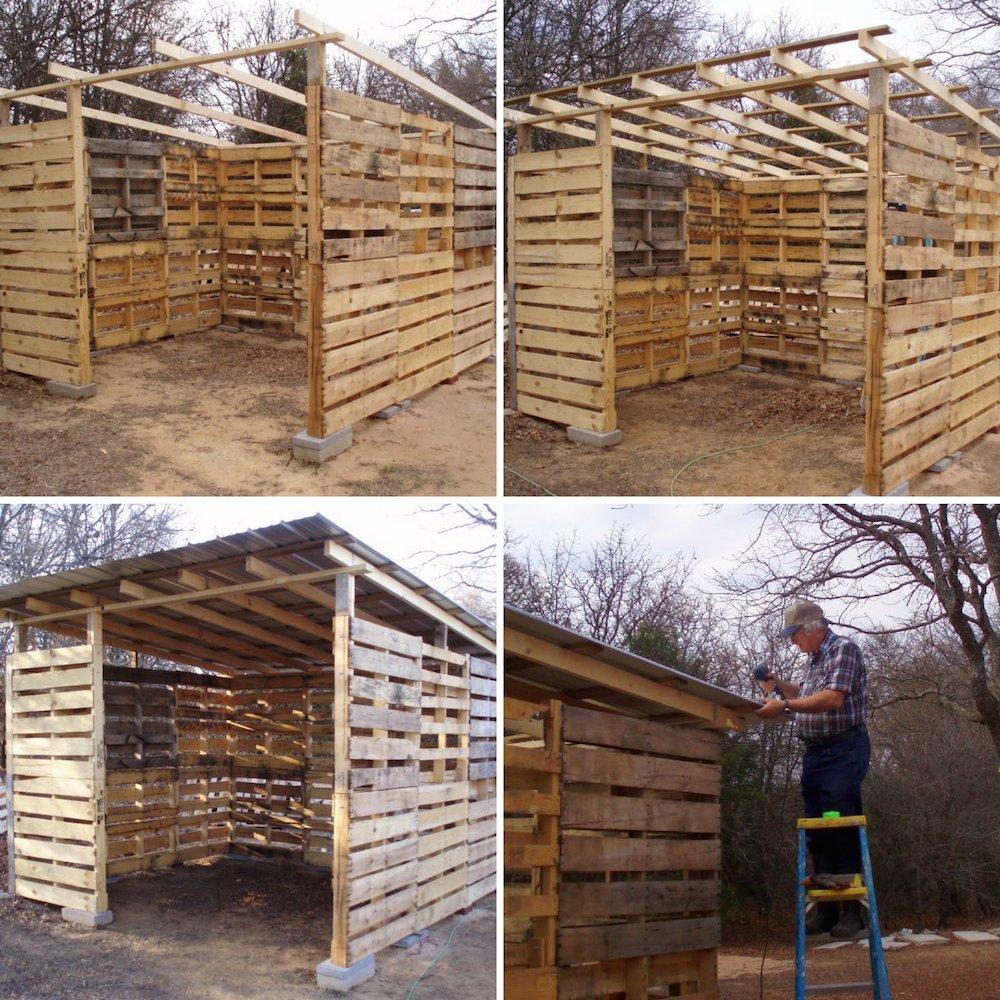 C mo hacer un cobertizo de madera con pal s reutilizados for Cobertizo de madera tratada