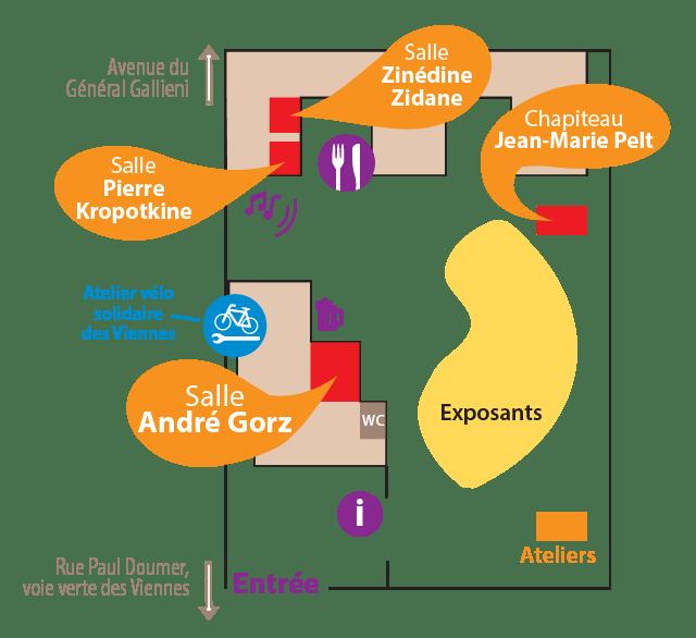 Plan du festival Ecol'Aube 2018 à la maison des viennes à Sainte-Savine