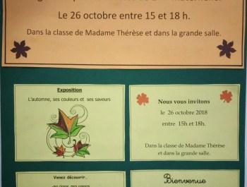 Exposition des élèves de Madame Thérèse (M2) -Vendredi 26 octobre 2018