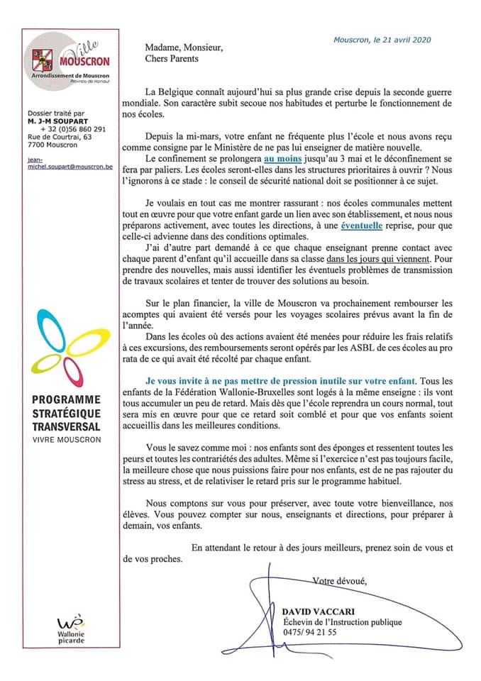 Communication de Monsieur Vaccari, Echevin de l'Instruction publique (Service enseignement)