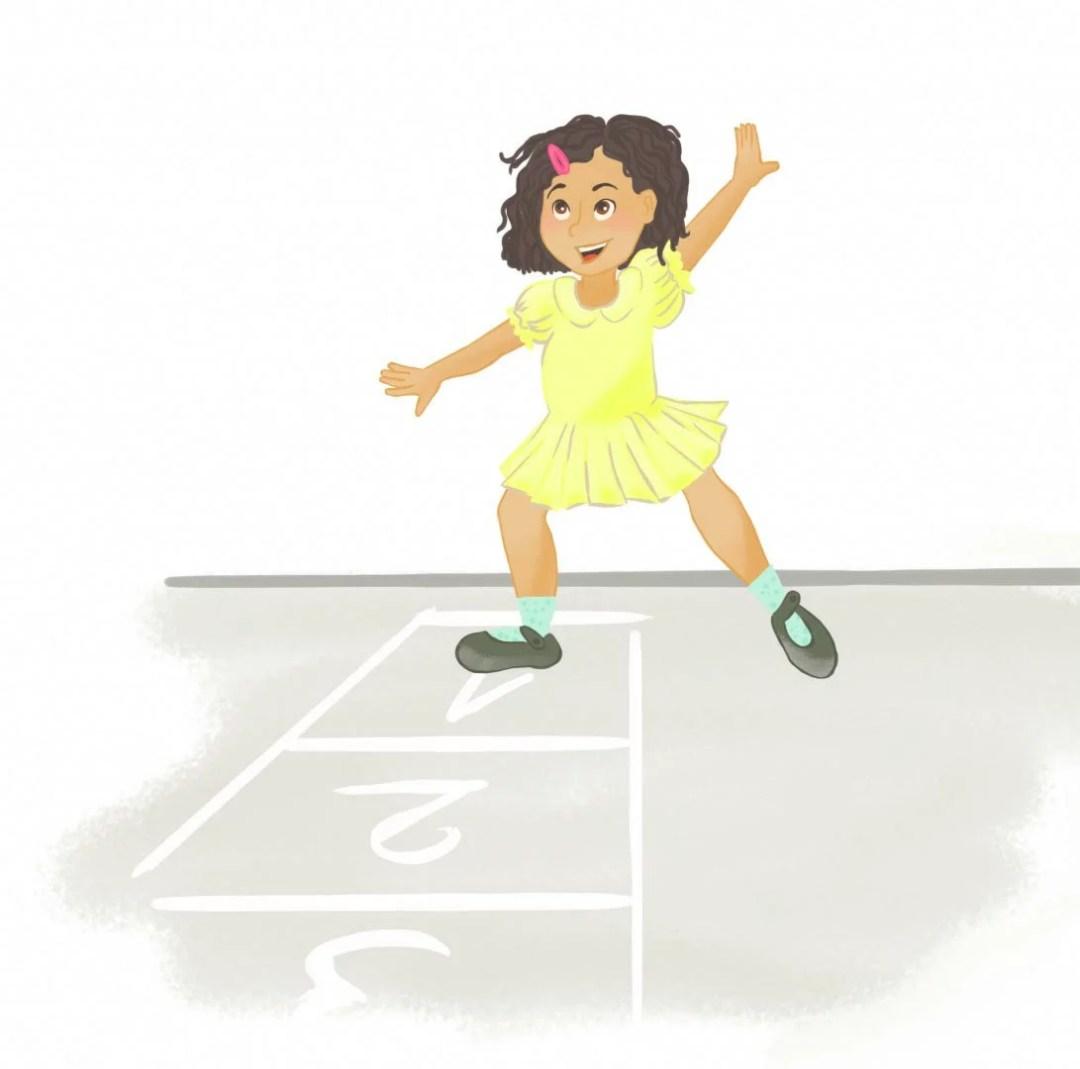 fille jouant à la marelle