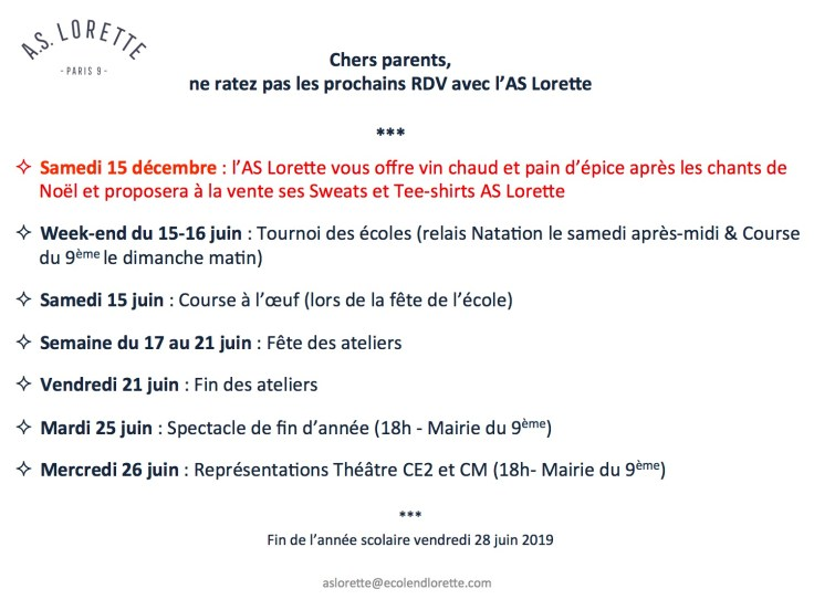 dates as lorette 2018 2019