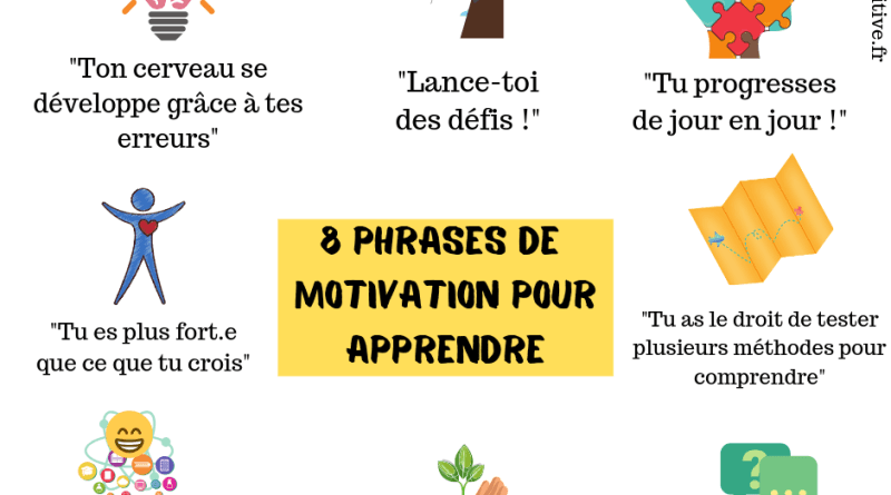 8 phrases de motivation pour apprendre (affiche gratuite)