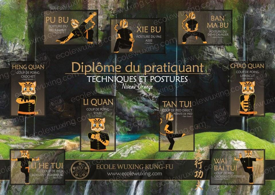 Diplome des techniques et postures de base du Kung-Fu Wushu - Ji Ben Gong niveau orange