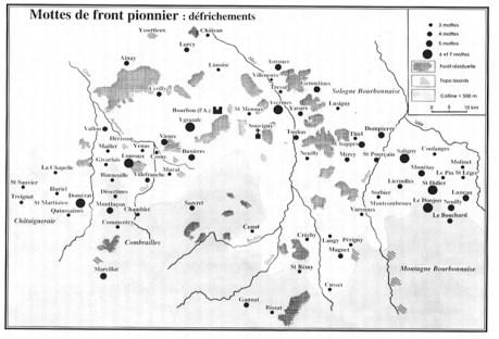 Carte des mottes de front pionnier autour de Bourbon l'Archambault
