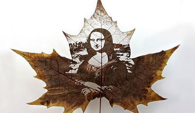 Obras de arte hechas con hojas secas otoñales