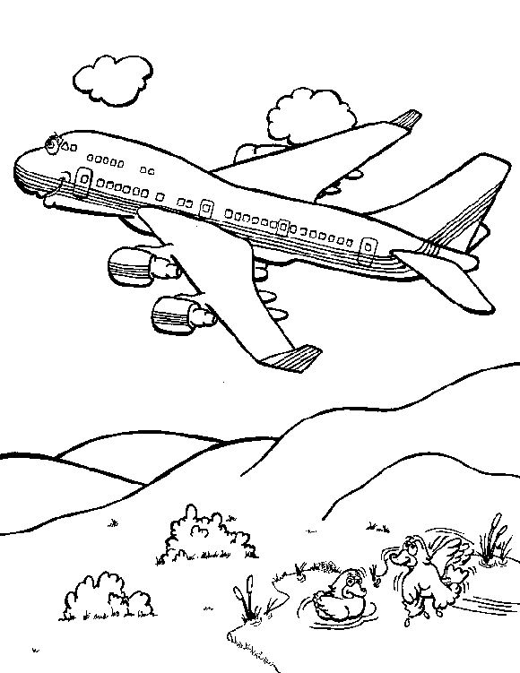 ducks and a boeing 747 jumbo jet airplane coloring page printable