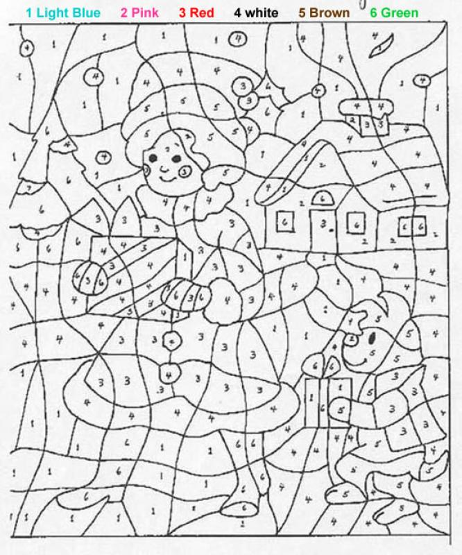 color by numbers girl and dog with presents coloring pages for kids