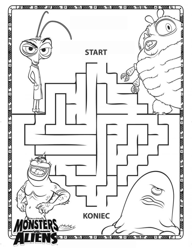 coloring page monsters vs aliens maze ecoloringpage com printable