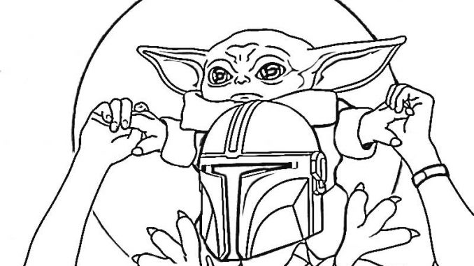star wars baby yoda and mandalorian coloring pages