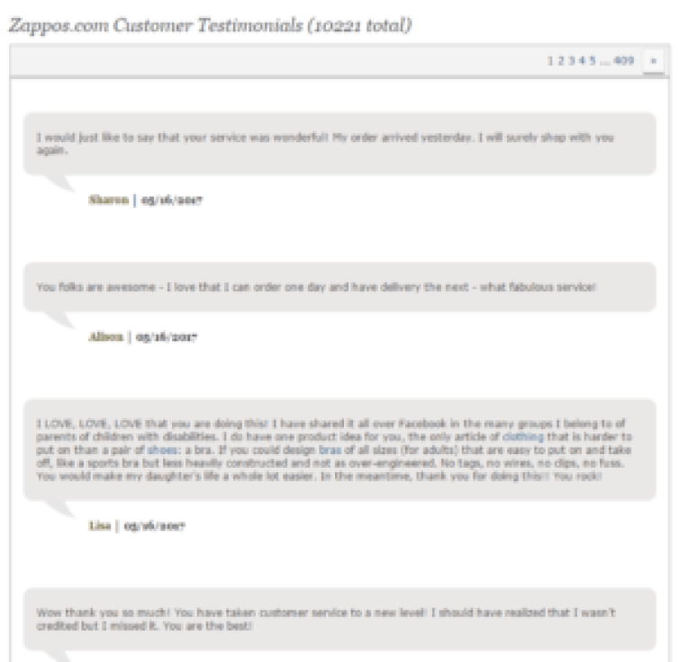 zappos online customer reviews