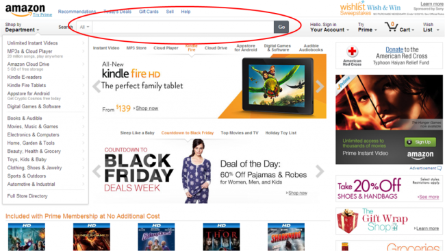 amazon on-site search today