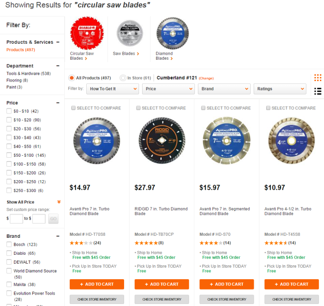 HomeDepot.com on-site search results