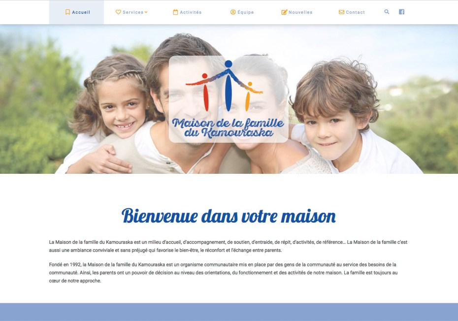 La page d'accueil du site en pleine largeur