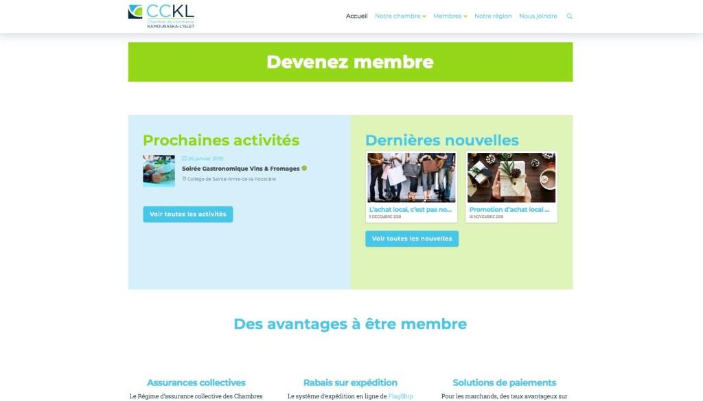 Page d'accueil, prochaines activités et dernières nouvelles