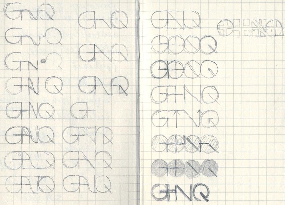 Esquisses et recherche pour une proposition non retenue de logo pour le GTN-Q