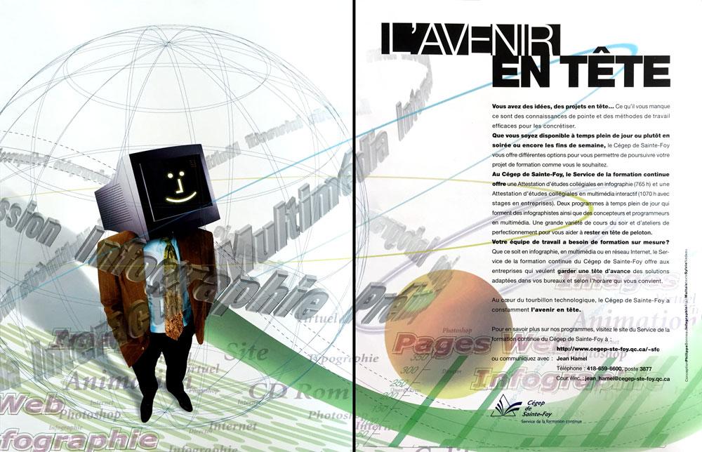 Publicité double page dans un magazine pour la formation continue du Cégep de Sainte-Foy.
