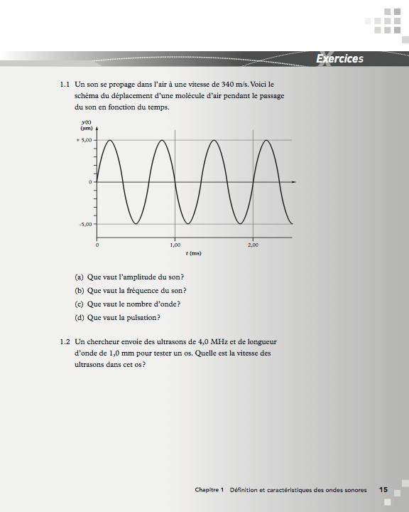 Page d'exercice du livre «Physique du son pour les audioprothésistes»