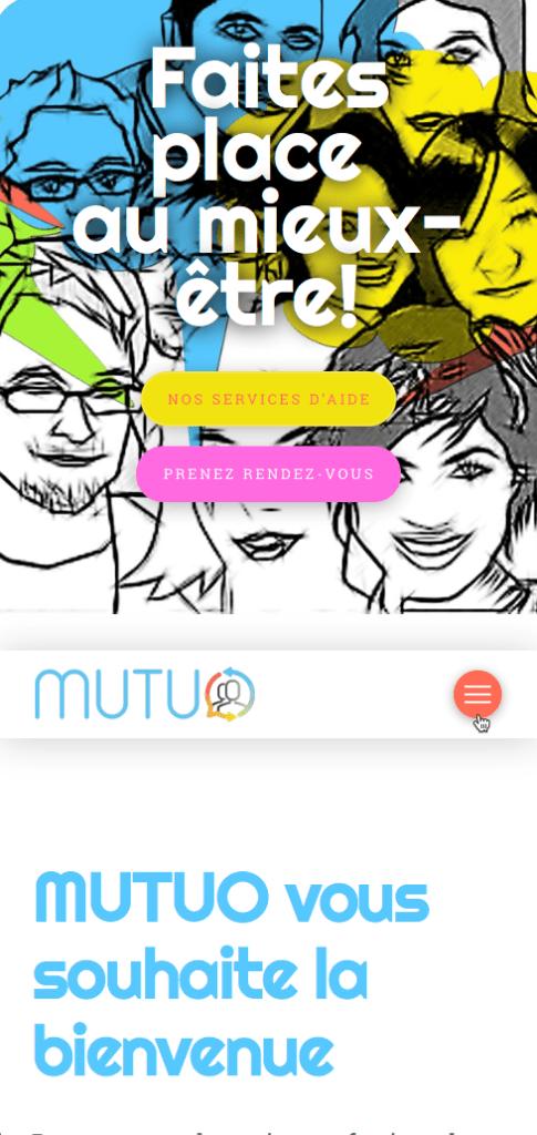 Page d'accueil du site adaptée au téléphone avec rétroaction du menu