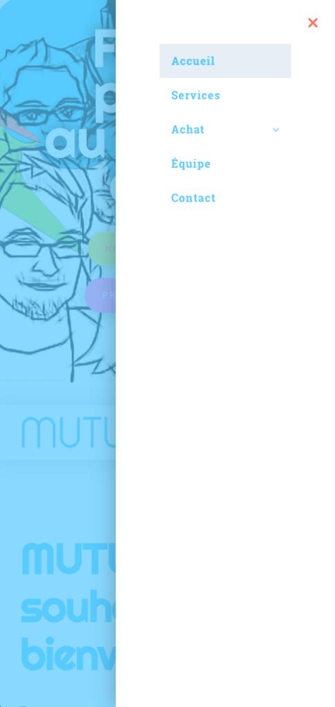 Page d'accueil du site adaptée au téléphone avec menu déployé