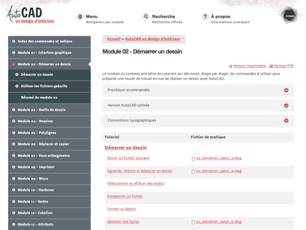 Site web AutoCAD en design d'intérieur