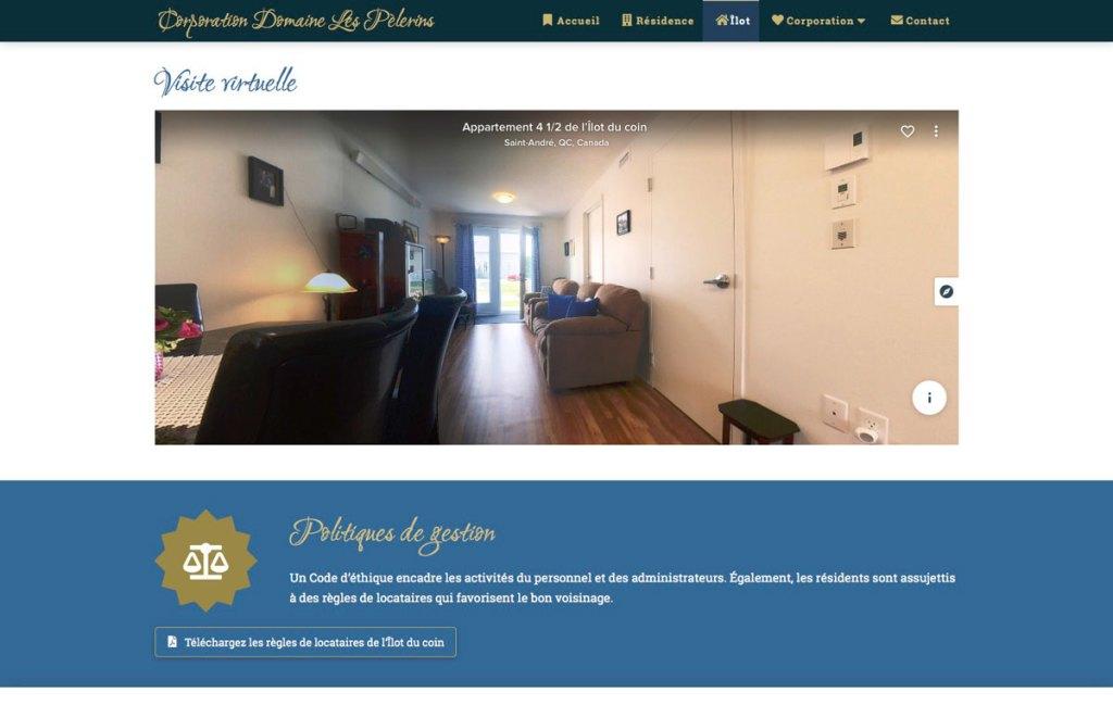 Section de la page Îlot avec visite virtuelle 360 degrés