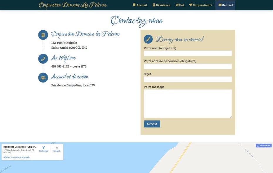 Section de la page Contact avec formulaire