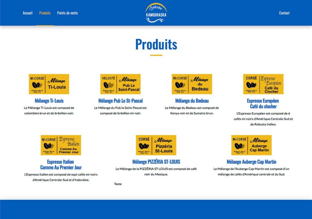 Page Produits - Site web Brûlerie du Kamouraska