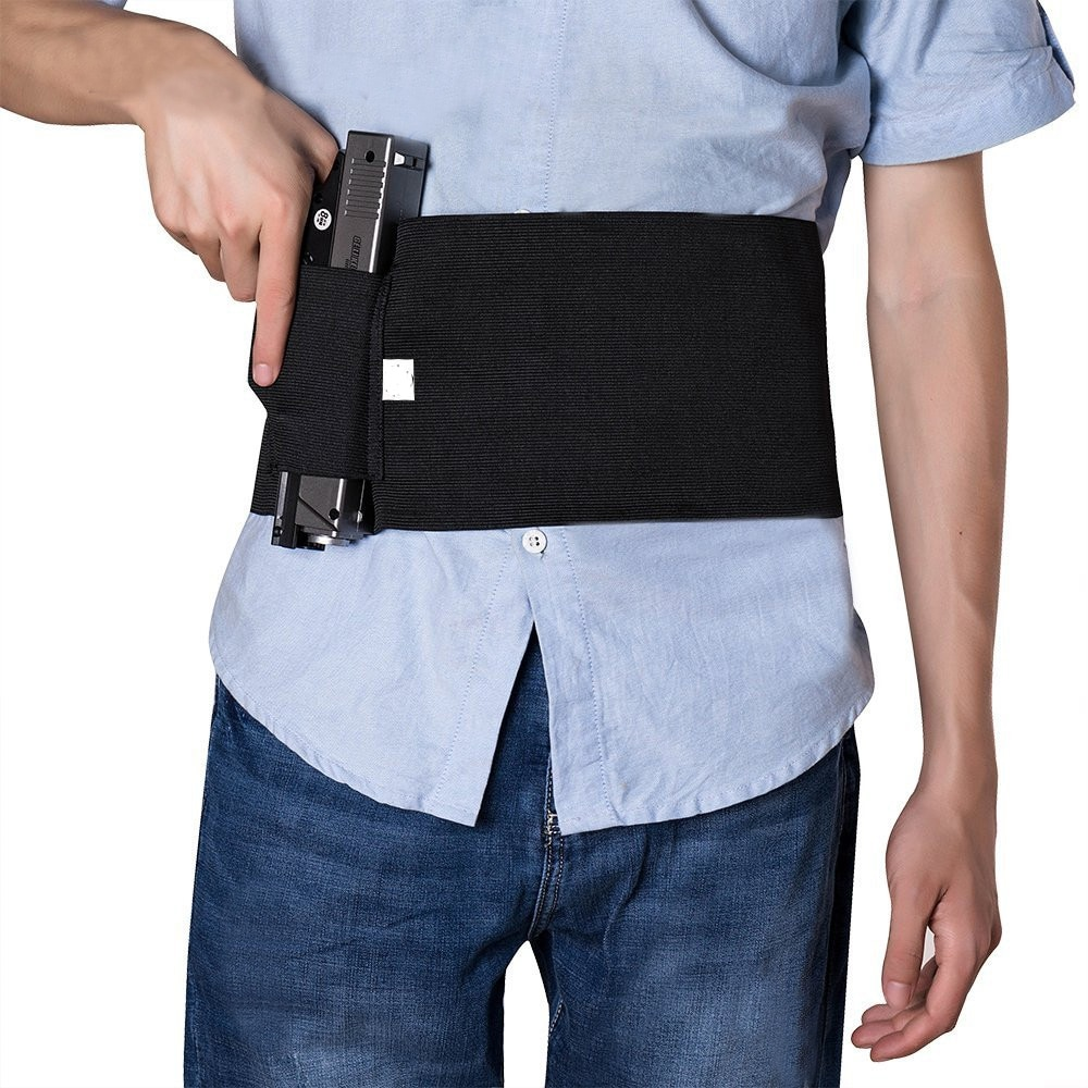 37-Adjustable-Tactical-Elastic-Belly-Band-Waist-Gun-Holster-2-Magazine-Pouches-Concealed-Carry-Universal-Pistol