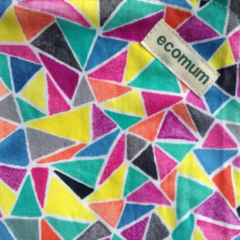 geometric pattern in bright spring colours of pinks, yellows, and blues in shattered triangle shapes