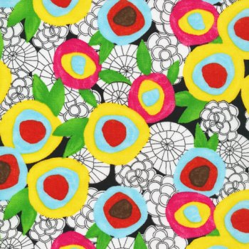 bold flower print in primary colours with white and black line drawn accents