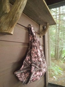 sling hanging against cabin wall with forest in background
