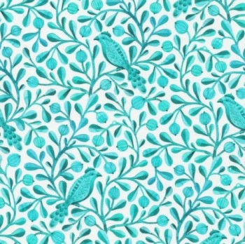 all over turquoise pattern of branches with bird wearing beret, white background