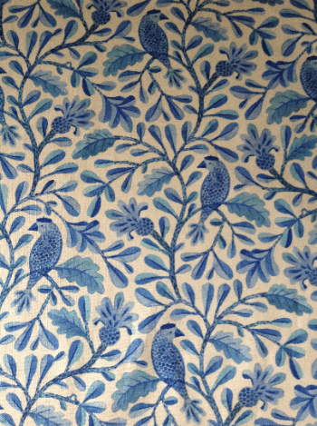 Henri, blue birds and branches patterned on cotton hankies