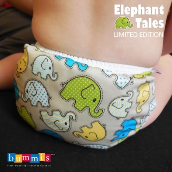 cloth diaper baby bum with elephant pattern cover