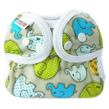 cloth diaper cover with elephant pattern