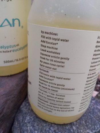 rear label Eucalan Wool Wash bottle