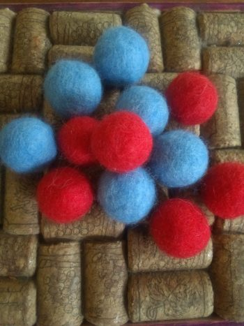 blue and red felted balls