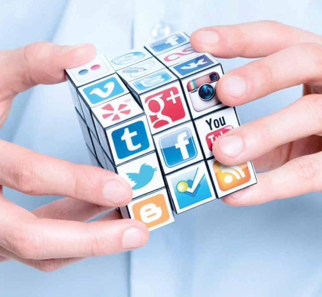Blog social media cube with hands