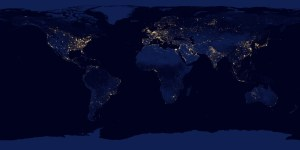 A NASA satellite image of the world's night lights conveys economic information about developed and developing countries.
