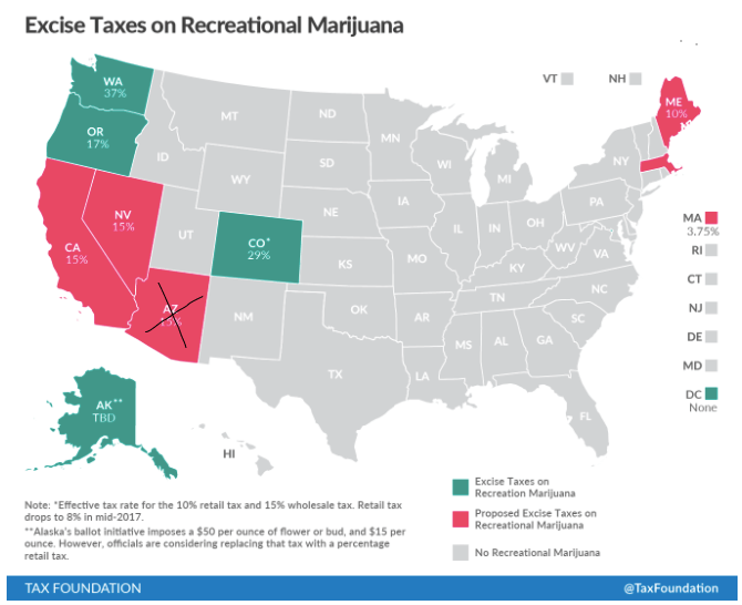 states with marijuana taxes