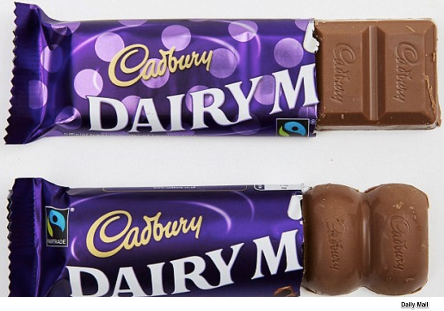 downsizing packages Cadbury