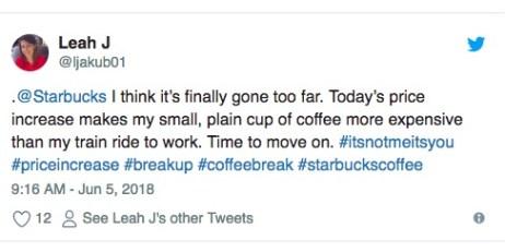 Starbucks price increase