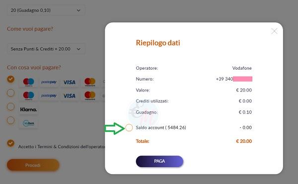 pagamento ricarica cellulare