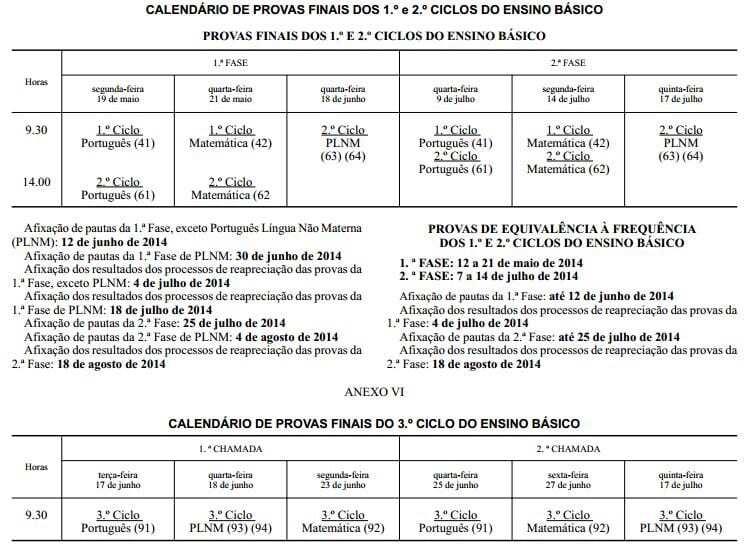 Calendário de exames do ensino básico